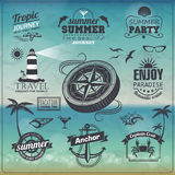 Vintage summer background. Set of labels Stock Images