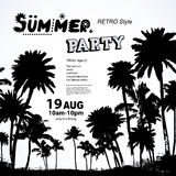 Vintage summer banners with palm trees Royalty Free Stock Photos