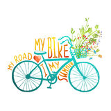 Vintage Summer Bike with Bunch of Flowers Card Royalty Free Stock Image