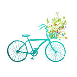 Vintage Summer Bike with Bunch of Flowers Card Stock Photo