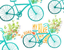 Vintage Summer Bike Composition with Bunch of Stock Photos