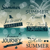 Vintage summer calligraphic elements design labels Royalty Free Stock Images