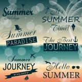 Vintage summer calligraphic elements design labels. Collection. Vector illustration royalty free illustration