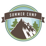 Vintage summer camp backpacking and hiking poster design Stock Photography