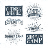 Vintage summer camp badges and outdoor adventure logos, emblems Stock Photos