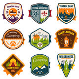Vintage summer camp and outdoor badges. Set of vintage summer camp badges and outdoors emblems Stock Image