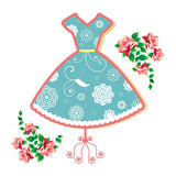 Pretty summer dress. Pretty  summer dress (remove clip mask in  for full flowers for other uses Royalty Free Stock Image