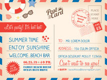 Vintage Summer Holiday Postcard Background Template For Invitation Card Royalty Free Stock Photography