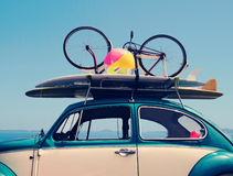 Vintage summer holiday road trip vacation. Travel concept with copy space Stock Images