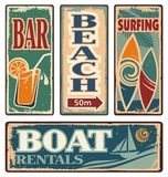 Vintage summer holiday signs. Set of beach vintage signs. Summer holiday vector collection. Retro vacation design elements and poster design templates Royalty Free Stock Photo