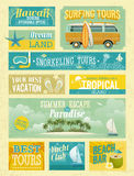 Vintage summer holidays and beach advertisements. Royalty Free Stock Image