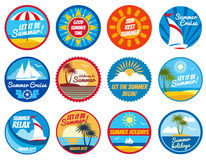 Vintage summer labels. Tropical holiday vector logos with typography Stock Images