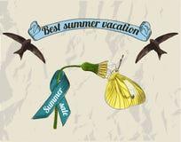 Vintage summer lebels set. Royalty Free Stock Photo