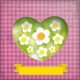 Vintage Summer Lights Heart Background Flowers Stock Images