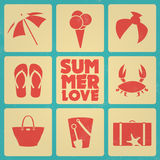 Vintage summer poster with icons - Retro colors Royalty Free Stock Photo