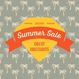 Vintage Summer Sale Badge. Retro styled emblem advertising a Summer sale. It reads Exlusive Summer Sale - Great discounts, and it has a banner and a palm tree Stock Photography