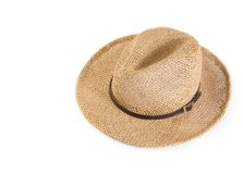 Vintage summer straw hat isolated Royalty Free Stock Photography