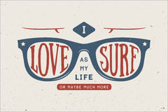 Vintage summer surfing motivational and inspirational quote. Stock Images