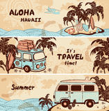 Vintage summer and travel banners Royalty Free Stock Images