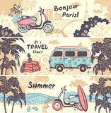 Vintage summer and travel banners Royalty Free Stock Photography