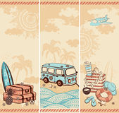 Vintage summer and travel banners Stock Photos