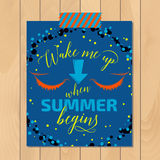 Vintage summer typography background with motivational quote. Creative sticker Stock Photos