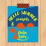 Vintage summer typography background with motivational quote. Creative sticker Stock Images