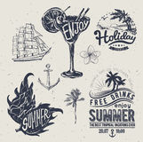 Vintage summer typography design with labels, i Royalty Free Stock Photos