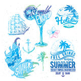 Vintage summer typography design with labels, i Stock Photography