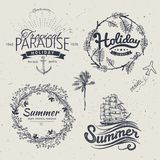 Vintage summer typography design with labels, Stock Images