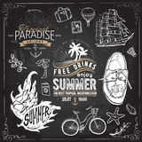 Vintage summer typography design with labels, Stock Image