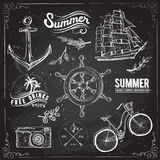 Vintage summer typography design with labels, Royalty Free Stock Images