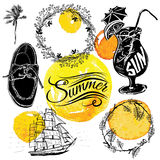 Vintage summer typography design with labels Stock Photography
