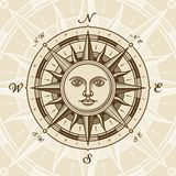 Vintage sun compass rose stock illustration