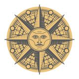 Vintage sun face compass rose Royalty Free Stock Photography