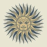 Vintage sun face compass rose Royalty Free Stock Images