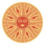 Vintage sun face compass rose Stock Photos