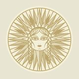 Vintage sun face compass rose Royalty Free Stock Image