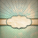Vintage Sunbeams Background with Label Royalty Free Stock Photo
