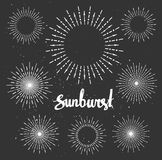 Vintage sunburst collection. Chalk elements. Hipster style. Stock Image