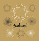 Vintage sunburst collection. Hipster style on the craft paper. Stock Photo