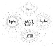 Vintage sunburst collection. Hipster style. Royalty Free Stock Photos