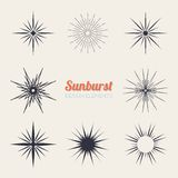 Vintage sunburst design elements collection with Royalty Free Stock Photo