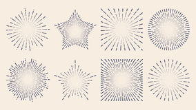 Vintage sunburst starburst abstract retro sunshine line splash Stock Photos