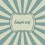 Vintage sunburst template of old card. Sunbeam postcard, frame design with rays. Vector. Royalty Free Stock Images