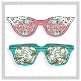 Vintage sunglasses with cute floral print Royalty Free Stock Photo
