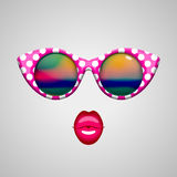 Vintage sunglasses and kissing lips Stock Photos