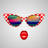 Vintage sunglasses and kissing lips Stock Images