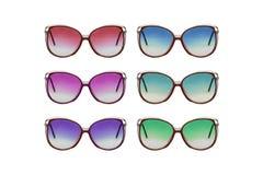 Vintage sunglasses, multicolored. Retro Sunglasses Set isolated on white background, Vintage sunglasses, multicolored royalty free stock photo