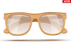 Vintage sunglasses with wooden frame. Stock Photos